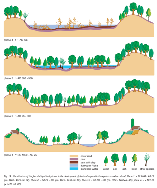 Fig. 13. Visualization of the four distinguished phases in the development of the landscape with its vegetation and woodland. Phase 1: ~ BC 2000 - AD 25 (ca. 3900 - 1925 cal. BP); Phase 2: ~ AD 25 – 300 (ca. 1925 - 1650 cal. BP); Phase 3: ~ AD 300 - 530 (ca. 1650 - 1420 cal. BP); phase 4: ~ > AD 530 (< 1420 cal. BP).